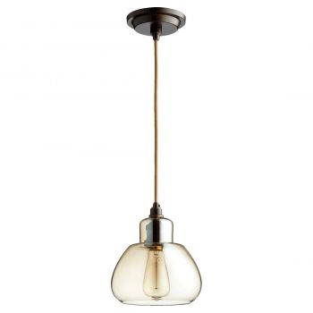 """Quorum Transitional 7"""" Pendant Light in Oiled Bronze with Amber"""