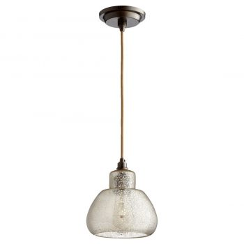 """Quorum Transitional 7"""" Pendant Light in Oiled Bronze with Silver Mercury"""