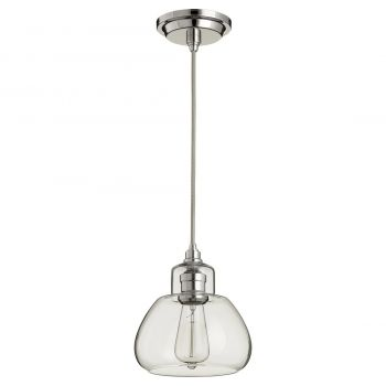 """Quorum Transitional 7"""" Pendant Light in Polished Nickel with Clear"""