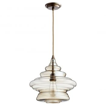 """Quorum Transitional 14"""" Pendant Light in Oiled Bronze with Amber"""