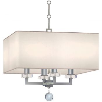 """Crystorama Paxton 4-Light 15"""" Modern Chandelier in Polished Nickel"""