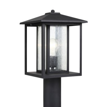 Sea Gull Lighting Hunnington 1-Light Outdoor Post Lantern in Black