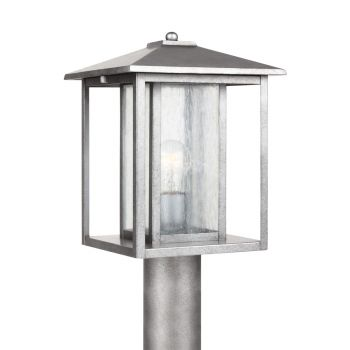 Sea Gull Lighting Hunnington 1-Light Outdoor Post Lantern in Weathered Pewter