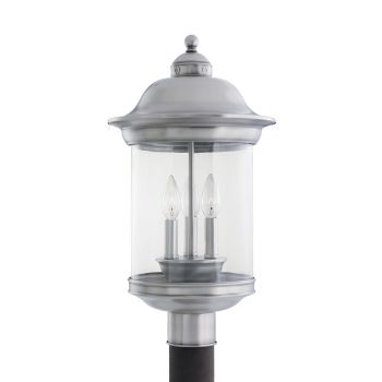 Sea Gull Lighting Hermitage 3-Light Outdoor Post Lantern in Antique Brushed Nickel