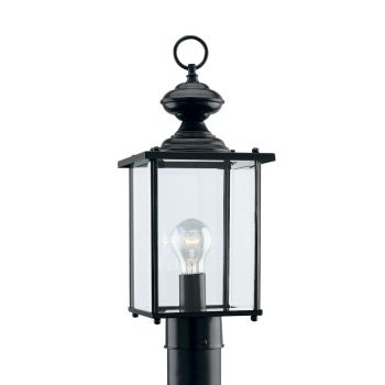 Sea Gull Lighting Jamestowne 1-Light Outdoor Post Lantern in Black