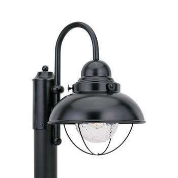 Sea Gull Lighting Sebring 1-Light Outdoor Post Lantern in Black