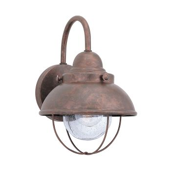 Sea Gull Lighting Sebring 1-Light Outdoor Wall Lantern in Weathered Copper