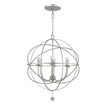 """Crystorama Solaris 6-Light 28"""" Industrial Chandelier in Olde Silver with Clear Glass Drops Crystals"""