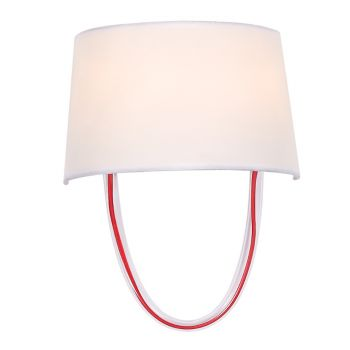"""Crystorama Stella 2-Light 12"""" Wall Sconce in Polished Chrome And Red Cord"""