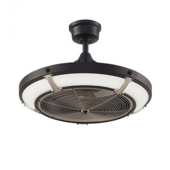 "Fanimation Pickett 24"" LED Indoor/Outdoor Ceiling Fan in Black and Nickel"