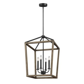 "Feiss Gannet 18"" 4-Light Pendant in Weathered Oak/Antique Forged Iron"