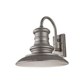 """Feiss Redding Station LED 15"""" Outdoor Wall Light in Tarnished Silver"""