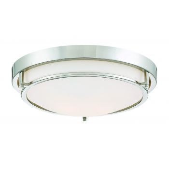 Trade Winds Slim Round Flush Mount Ceiling Light in Polished Nickel