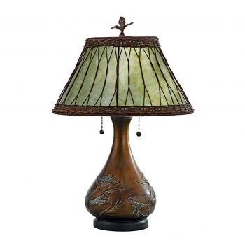 """Quoizel Mica 25"""" 2-Light Table Lamp in Bronze Finish"""