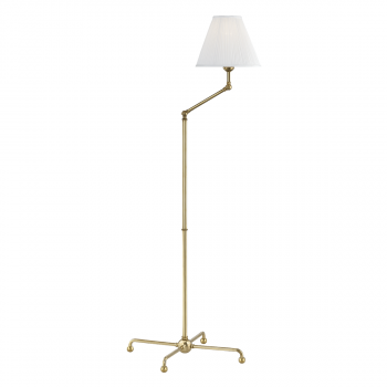 """Hudson Valley Classic No.1 by Mark D. Sikes 59.5"""" Adjustable Floor Lamp in Aged Brass"""