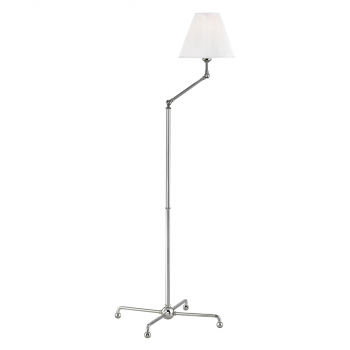 """Hudson Valley Classic No.1 by Mark D. Sikes 59.5"""" Adjustable Floor Lamp in Polished Nickel"""