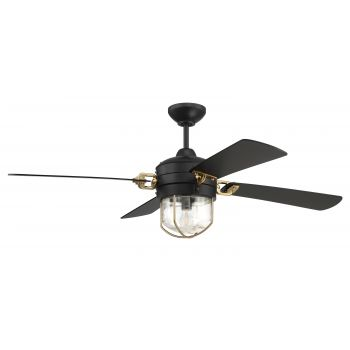 "Craftmade 52"" Nola Ceiling Fan in Flat Black and Satin Brass"