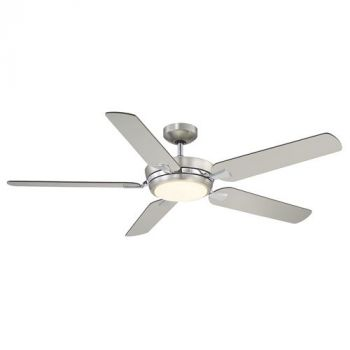 "Savoy House Montrose 54"" 5 Blade Ceiling Fan in Satin Nickel & Chrome"