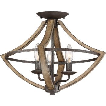 "Quoizel Shire 3-Light 17"" Ceiling Light in Rustic Black"