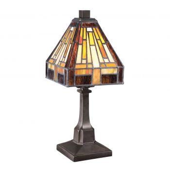 """Quoizel Stephen 12"""" Tiffany Table Lamp in Vintage Bronze"""