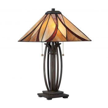 "Quoizel Asheville 25"" Tiffany Table Lamp in Valiant Bronze"
