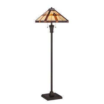 "Quoizel Bryant 60"" Tiffany Floor Lamp in Bronze"
