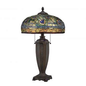 """Quoizel Lynch 26"""" Tiffany Table Lamp in Bronze"""