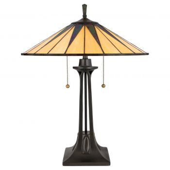 """Quoizel Gotham 25"""" Tiffany Table Lamp in Vintage Bronze"""
