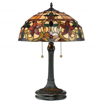 """Quoizel Kami 23"""" Tiffany Table Lamp in Vintage Bronze"""