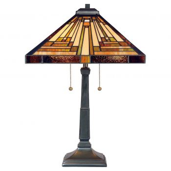 """Quoizel Stephen 23"""" Tiffany Table Lamp in Vintage Bronze"""