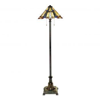"""Quoizel Inglenook Arts & Crafts 62"""" Tiffany Floor Lamp in Valiant Bronze"""