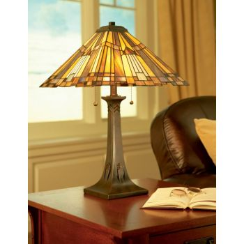 "Quoizel Inglenook 25"" Tiffany Table Lamp in Valiant Bronze"