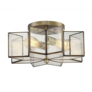 Trade Winds Star Semi-Flush Ceiling Light in Natural Brass