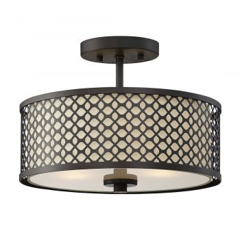 Trade Winds Lighting Lattice 2-Light Ceiling Light in Oil Rubbed Bronze