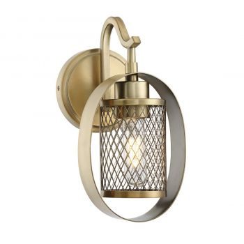 Trade Winds Ring Mesh Wall Sconce in Natural Brass