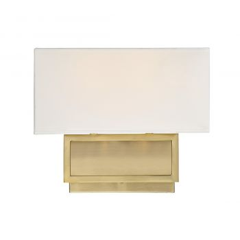Trade Winds Rectangle 2-Light Wall Sconce in Natural Brass