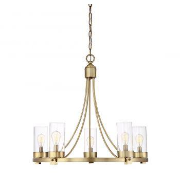 Trade Winds Lighting Hoop 5-Light Chandelier in Natural Brass