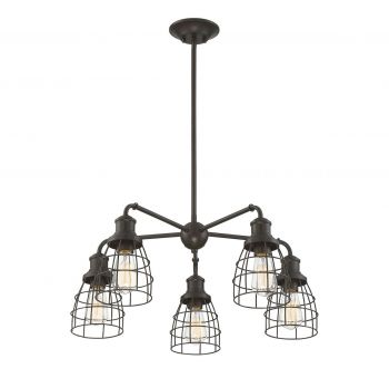 Trade Winds Industrial 5-Light Chandelier in Oil Rubbed Bronze