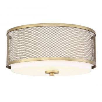 Trade Winds Lighting Mesh Large Flush Mount Ceiling Light in Natural Brass