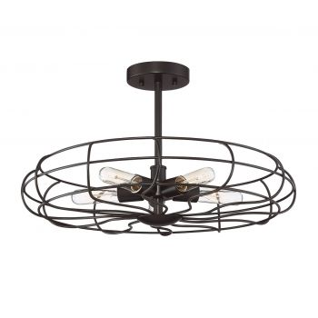 Trade Winds Cage 5-Light Ceiling Light in Oil Rubbed Bronze