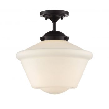 Trade Winds Schoolhouse Semi-Flush Ceiling Light in Oil Rubbed Bronze with Opal Glass
