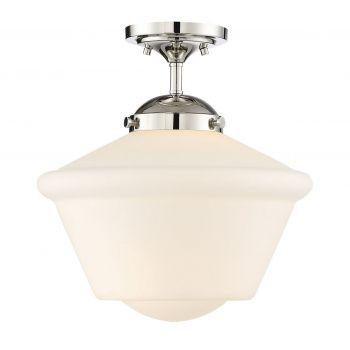 Trade Winds Lighting Schoolhouse 1-Light Opal Glass Ceiling Light in Polished Nickel