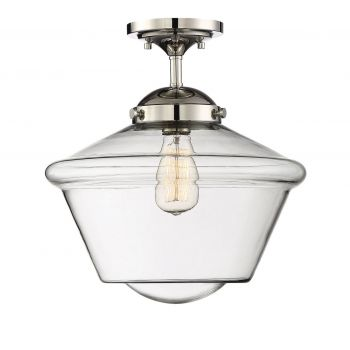 Trade Winds Lighting Schoolhouse Ceiling Light in Polished Nickel