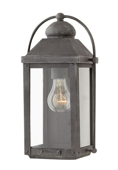 Hinkley Anchorage 1-Light Outdoor Small Wall Sconce in Aged Zinc