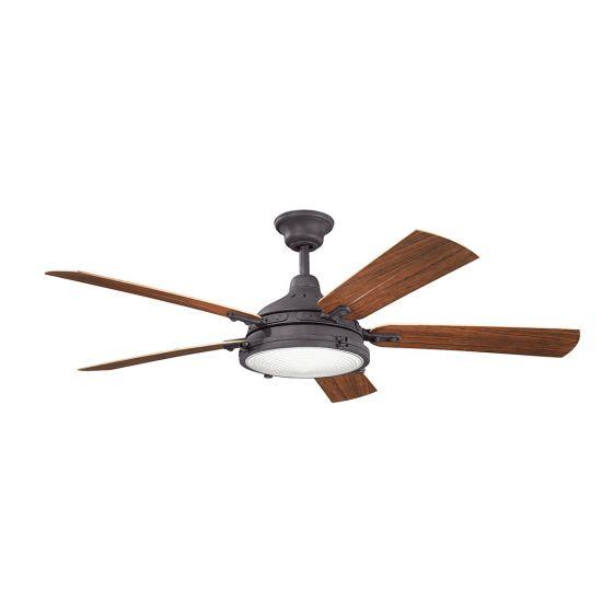 """Kichler Hatteras Bay Patio 60"""" Ceiling Fan in Distressed Black"""