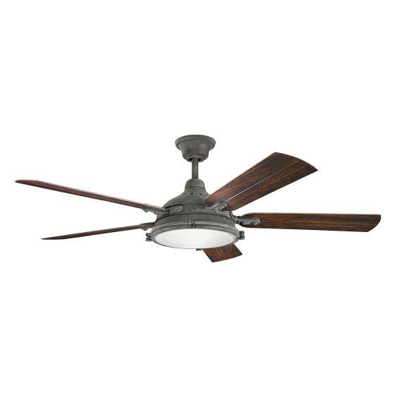 """Kichler Hatteras Bay Patio 60"""" Ceiling Fan in Weathered Zinc"""