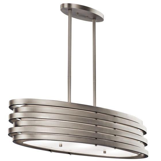 "Kichler Roswell 3-Light 12.25"" Chandelier Oval Pendant in Brushed Nickel"