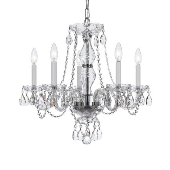 Crystorama Trad Crystal 5-Light Crystal Chandelier in Polished Chrome