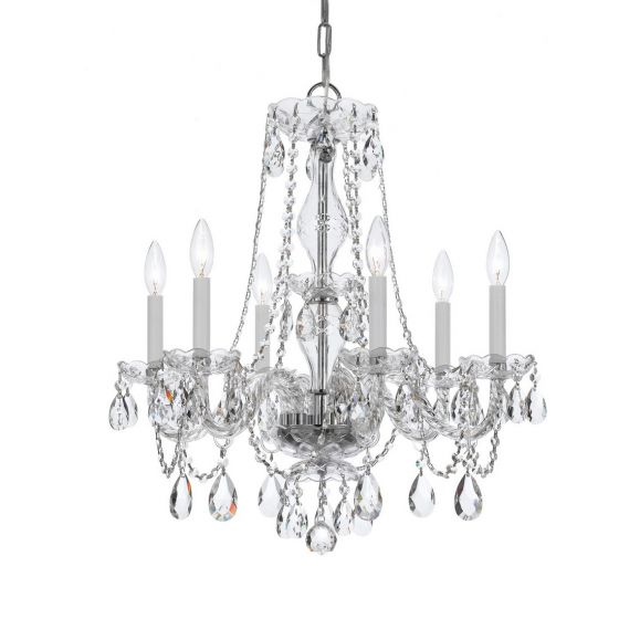 Crystorama Trad Crystal 6-Light Crystal Chandelier in Polished Chrome