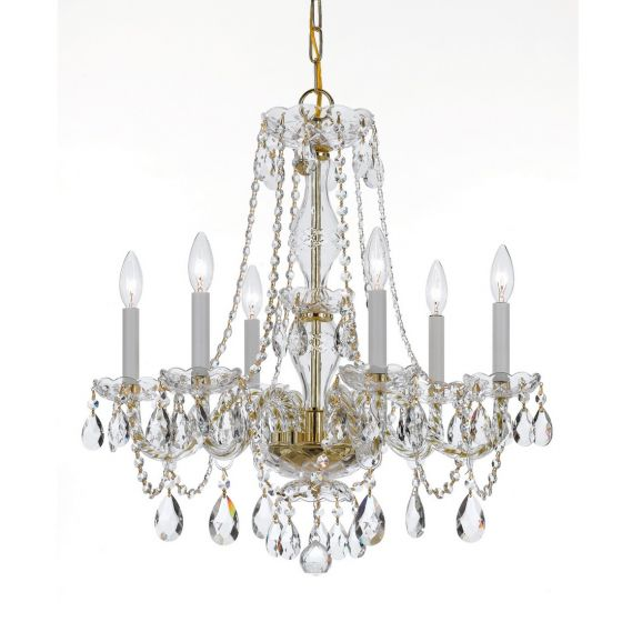 Crystorama Trad Crystal 6-Light Crystal Chandelier in Polished Brass